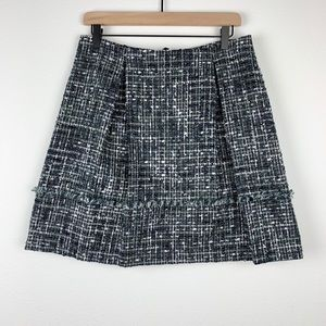 Brooks Brothers Green Frayed A-Line Tweed Skirt